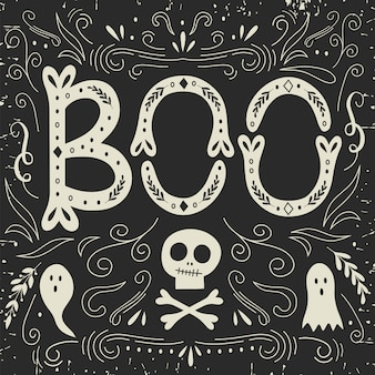 Halloween card with lettering.