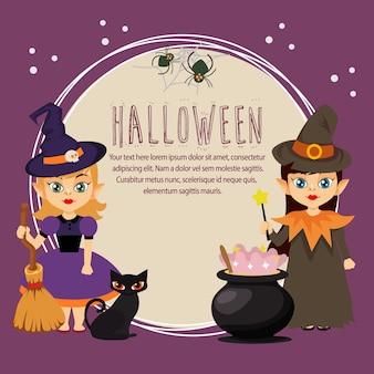 Halloween card with little cartoon wizard