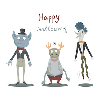 Halloween card with monsters and vampires