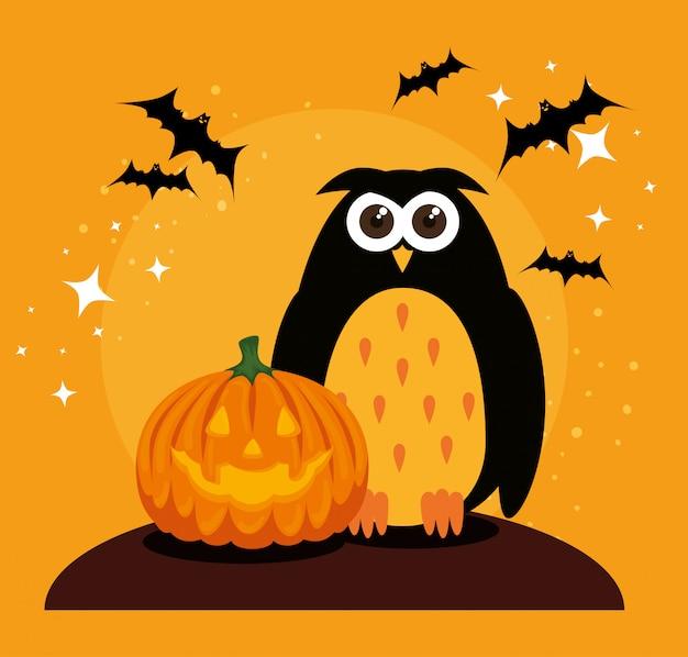 Открытка на хэллоуин с тыквой и совой