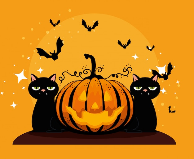 Halloween card with pumpkin