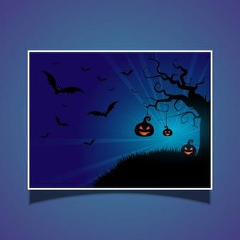 Halloween card with pumpkins and bats