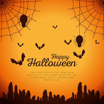 Halloween card with spider web and bats flying