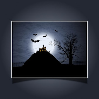 Halloween card with spooky house and bats