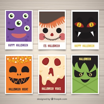 Halloween cards wtih monster faces