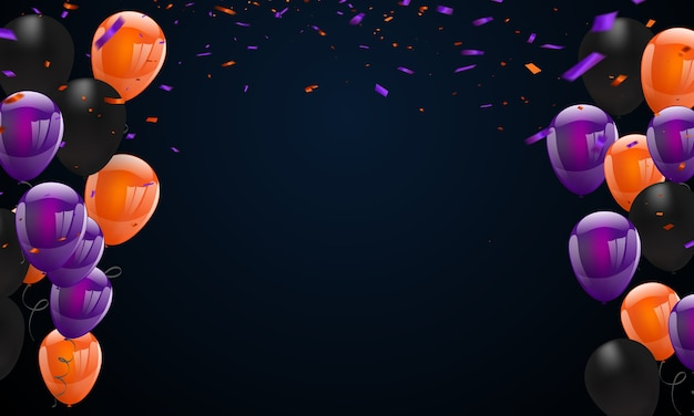 Halloween carnival background, orange purple balloons,