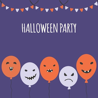 Halloween carnival background with garland flags and balloons party invitation concept