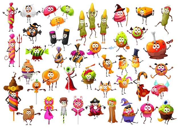 Halloween cartoon candies, horror lollipops sweets