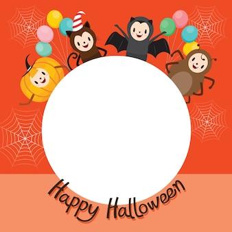 Halloween cartoon character on circle frame