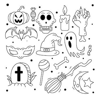 ハロウィーンの漫画の文字セット
