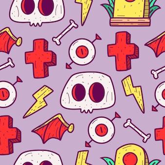 Halloween cartoon doodle pattern design illustration