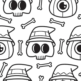 Halloween cartoon doodle pattern  illustration