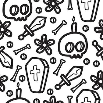 Halloween cartoon doodle pattern template