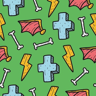 Halloween cartoon doodle pattern  template
