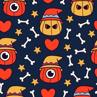 Halloween cartoon doodle seamless pattern design