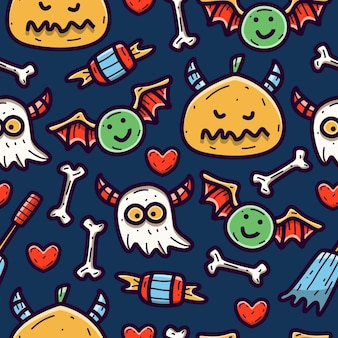 Halloween cartoon doodle seamless pattern