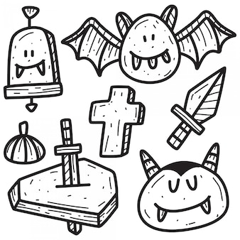 Halloween cartoon doodle  template
