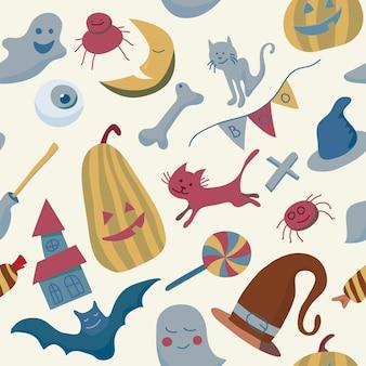 Halloween cartoon festive seamless pattern endless background with pumpkin bat spider ghost
