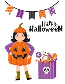 Хэллоуин мультфильм поздравительных открыток. ребенок девушка персонаж в костюме тыквы с пакетом сладости ос, копией пространства для вашего текста, традиционный праздник вектор шаблон