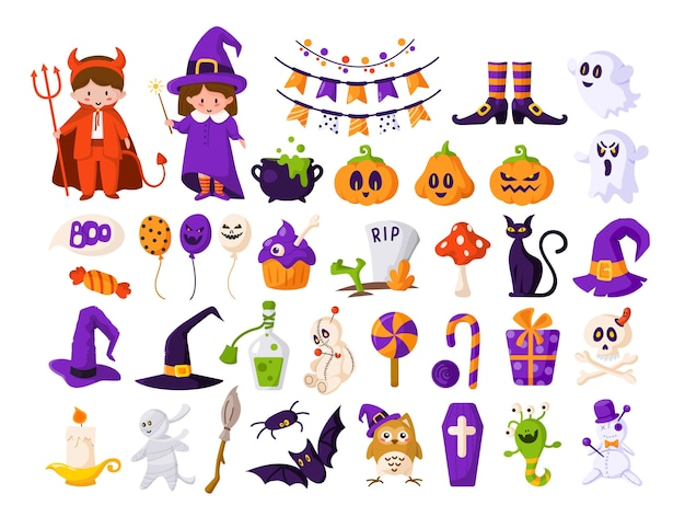 Halloween cartoon kids in devil and witch costumes, pumpkin, ghost, monster, bat, voodoo doll