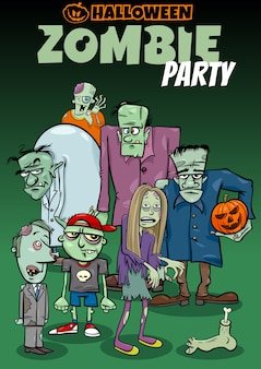 Halloween cartoon poster or invitation design with zombies