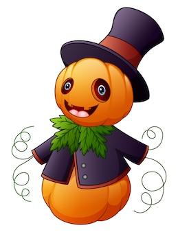 Halloween cartoon scarecrow with pumpkin head
