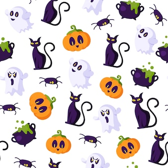 Halloween cartoon seamless pattern - creepy pumpkin lanterns with scary faces, ghost, black witch cat, cauldron, spider,  holiday symbols