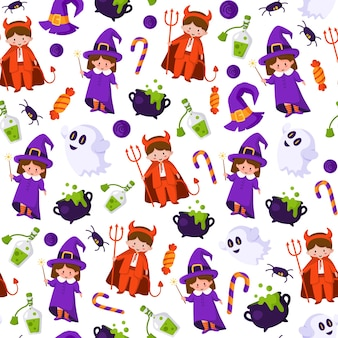 Halloween cartoon seamless pattern - kids in halloween costumes of devil and witch, ghost, spider, cauldron with potion