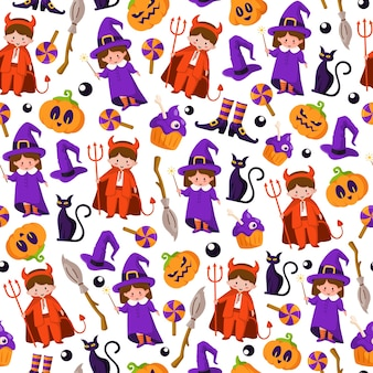 Halloween cartoon seamless pattern - kids in halloween costumes of devil and witch, scary pumpkin lanterns, monster, black cat, creepy cake