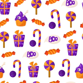 Halloween cartoon seamless pattern with candy cane, lollipop, candy, gift box