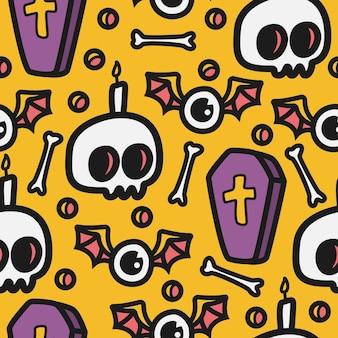 Halloween cartoon seamless pattern with skulls, bones and coffins