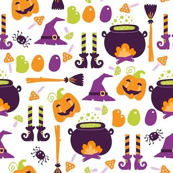 Halloween cartoon seamless pattern
