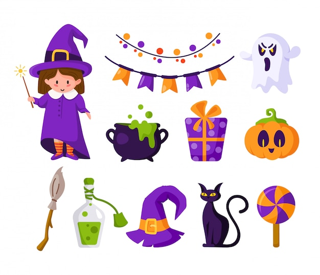 Halloween cartoon set - girl in halloween costume of witch, cute pumpkin, candy, scary creepy ghost, black cat, cauldron and potion, violet gift box