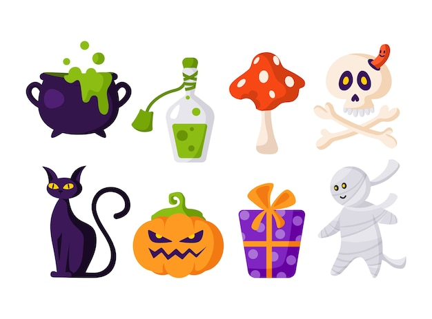 Набор мультфильмов хэллоуина - страшный тыквенный фонарь, череп и кости, подарочная коробка, черная кошка, зелье, котел, мухомор, мумия - изолированный вектор