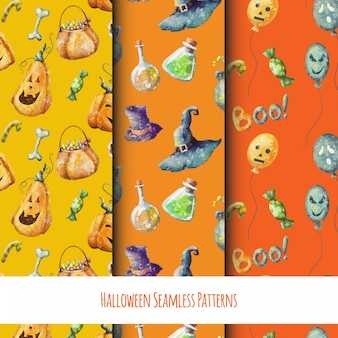 Halloween cartoon set of seamless funny patterns