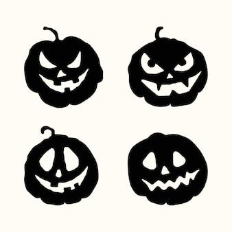 ハロウィーン漫画スタイルベクトルシルエット不気味な顔黒カボチャアイコンセット分離