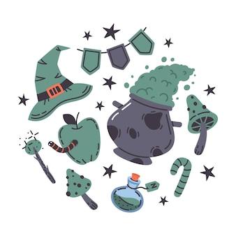 Halloween cartoon witchcraft spooky elements vector illustration set