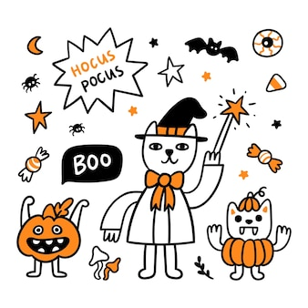 Хэллоуин мультики кот волшебник тыква и кот вампир
