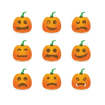 Halloween carved pumpkin collection. set of funny and sad emoticons faces