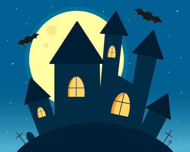 Замок хэллоуина ночью