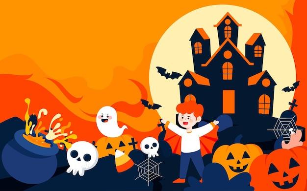 Halloween castle character illustration to celebrate halloween activity poster