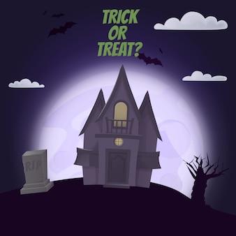 Halloween castle night moon  scary horror holiday.