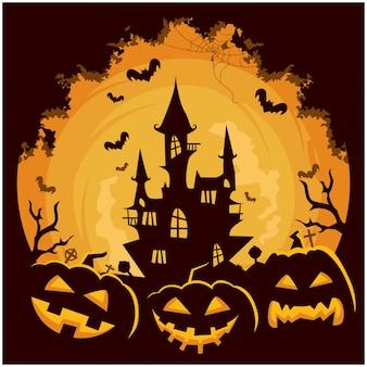 Halloween castle pumpkin background