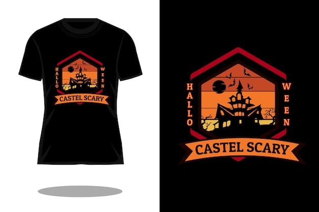 할로윈 성 무서운 빈티지 티셔츠 디자인