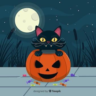 Halloween cat background in flat design