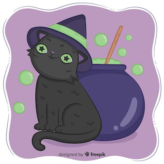 Halloween cat background in hand drawn style