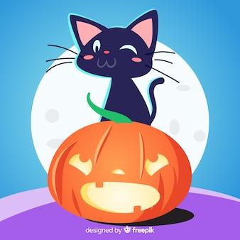 フラットデザインのハロウィンの猫の背景