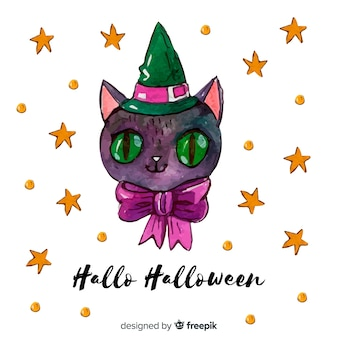 Halloween cat background in watercolor style