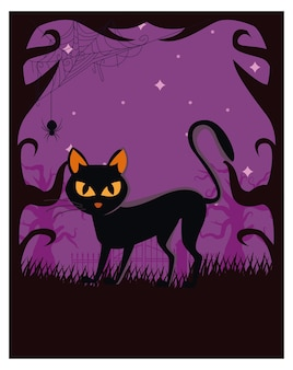 Halloween cat black at night scene