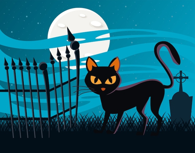 Halloween cat black with fullmoon at night scene